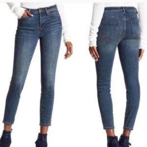 FREE PEOPLE Dark Blue Denim Jeans No Hem Skinny